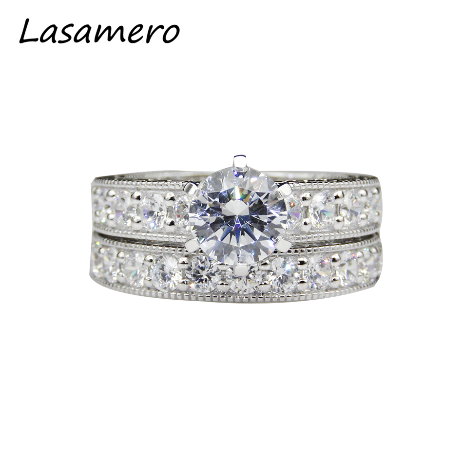 LASAMERO 14K Gold 3CT Round Cut Lab Grown Esdoemra Moissanites Diamond Side Stones Engagement Ring and Matching Band Wedding Set