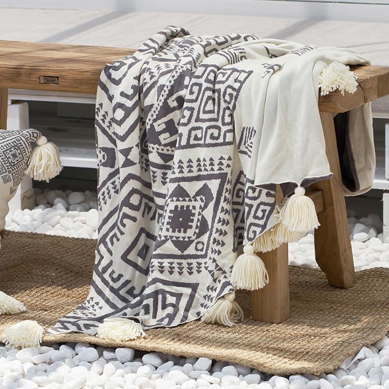 100% coton Portable fil teint pastorale tricoté couverture lit canapé décoration double taille sieste jeter couverture avec gland