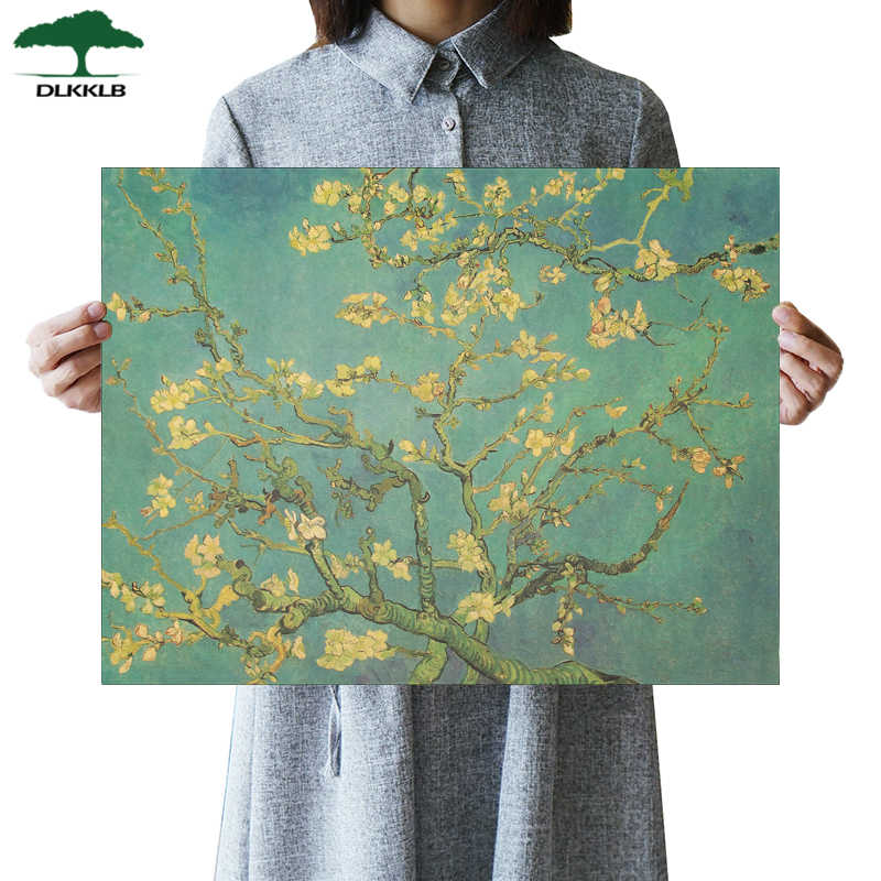 DLKKLB Art Poster Apricot Flower Anime Poster Vintage Van Gogh Kraft Paper Bar Cafe Decor Wall Stickers Room Decoration Painting