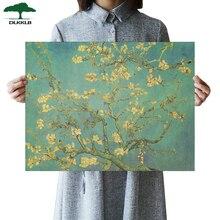 DLKKLB arte Flor de albaricoque Anime cartel Vintage Van Gogh de papel Kraft Bar Café decoración de pared adhesivos decoración de dormitorio pintura