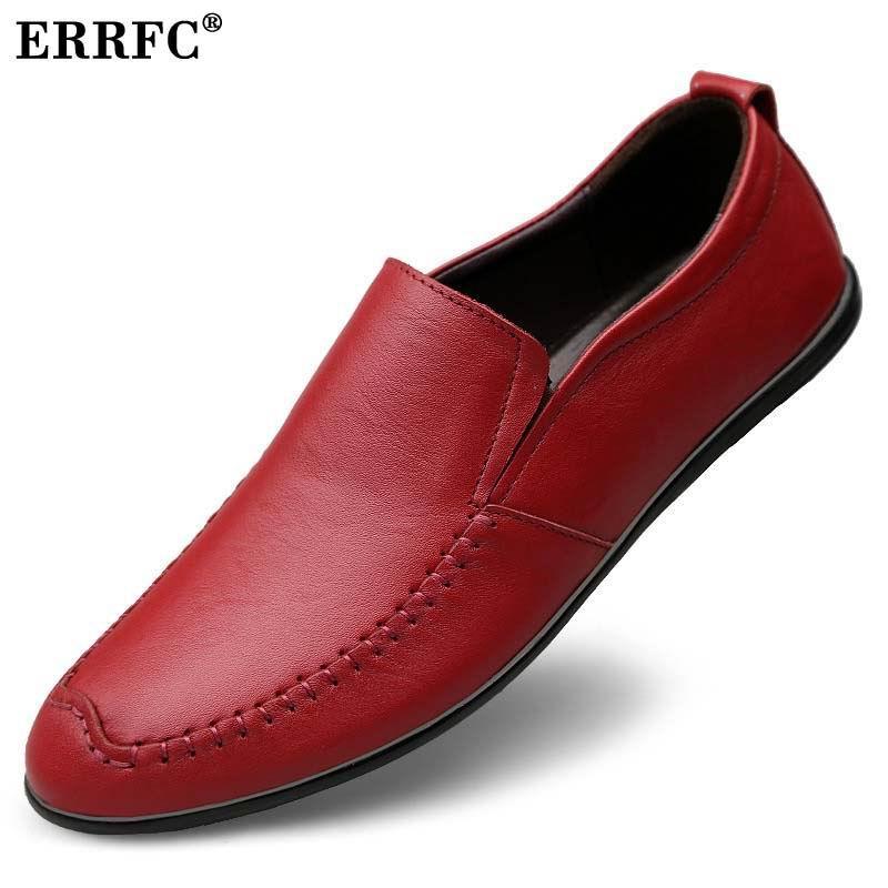 Sur Homme marron Rond rouge Brun Glissement Errfc 44 Rouge Pu Noir En 37 Bout Noir Mocassins Bateau Taille Hommes Chaussures Mode Cuir Designer Lesisure fvmIb76gYy