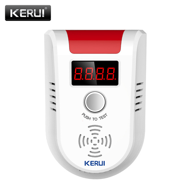 KERUI Wireless Digital LED Display Combustible Gas Detector Home Alarm System Flash Gas Sensor for Home Security