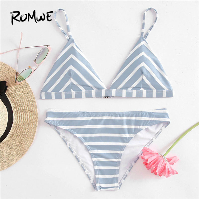 a18d3d293f Romwe Sport Blue Striped Triangle Bikini Set Women Sexy Beach Swimwear 2018  Summer New Clothing Female Slim Bikini Sets