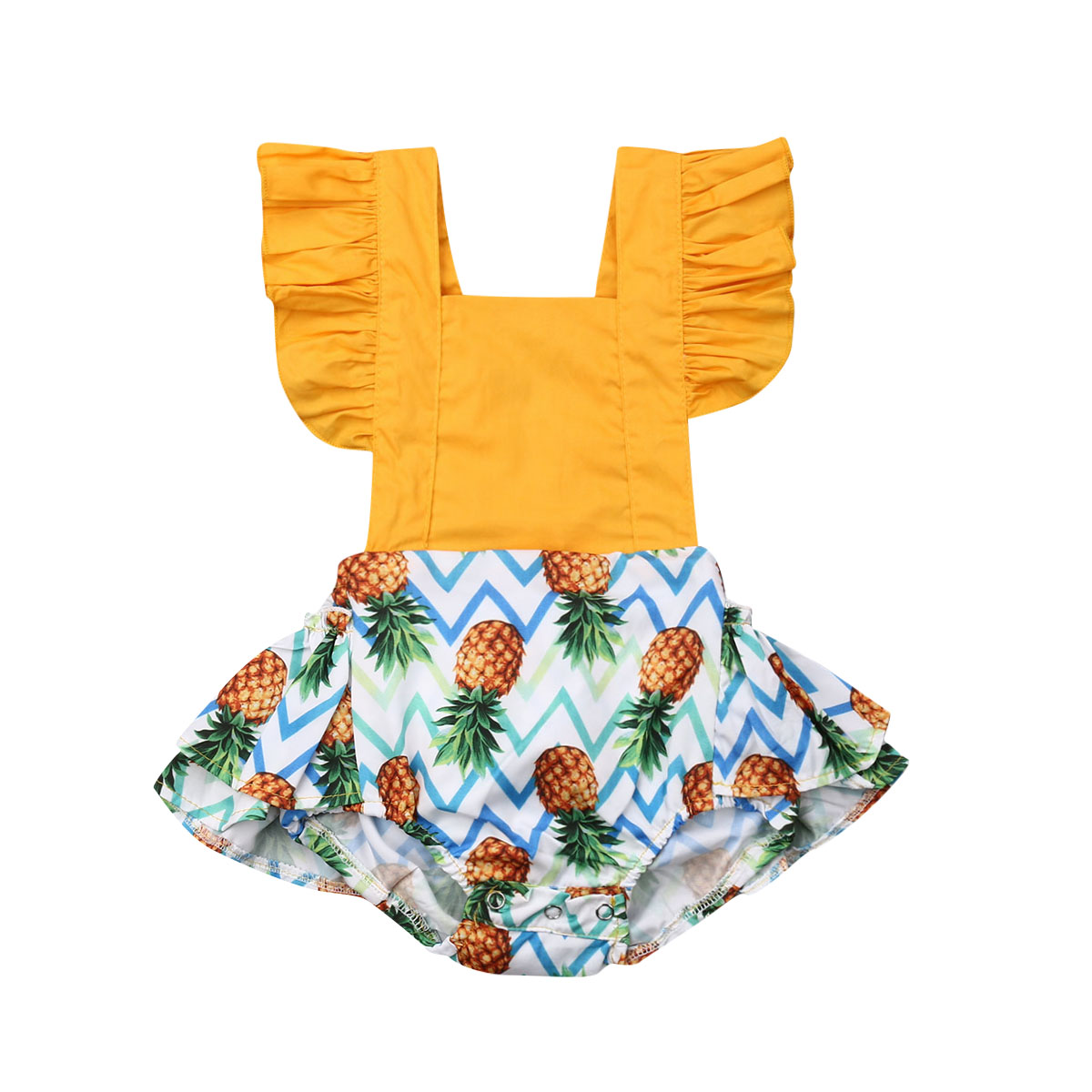 Newborn Baby Girl Outfits Kids Summer 2019 Pineapple Ruffle Sleeves Bow Backless   Romper   Jumpsuit One-pieces Sunsuit