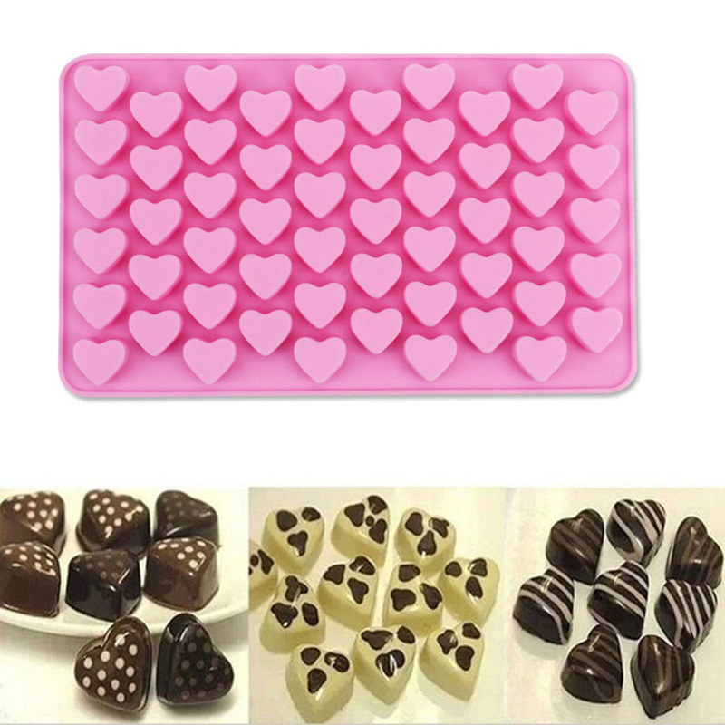 2019 Chocolate Mold Fondant Molds 55 Holes Nonstick Silicone Chocolate Cake Love Heart-shaped Baking Molds Jelly Ice Heart Mold