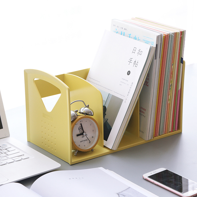 Creative Portable Plastic Book Shelf Desk Office Organizer Holder Stand