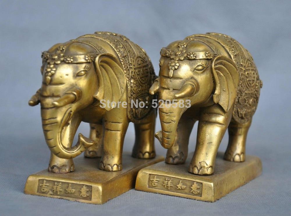 free 5'' China Pure Bronze Pair Elephant Statue Pair fast