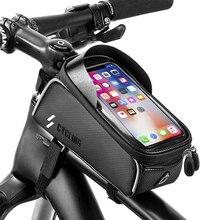 Untoom Rainproof Waterproof Mountain Bike Bag Bicycle Front Frame Top Tube Bag MTB 6.0 inch Touch Screen Mobile Phone Bike Case