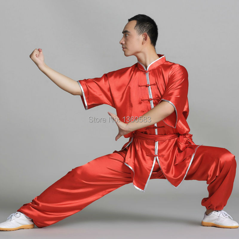 Chinese style Satin Kung Fu Suit short sleeve Martial Art Tai Chi Uniform wushu clothing women men kids clothes costumes 12colors chinese tai chi clothing kung fu uniform wushu clothes tai ji martial arts performance suit costumes for men women kids