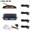 Onever auto reverso do carro backlight display led sensor de estacionamento com 4 sensores de backup sistema de estacionamento monitor do carro detector