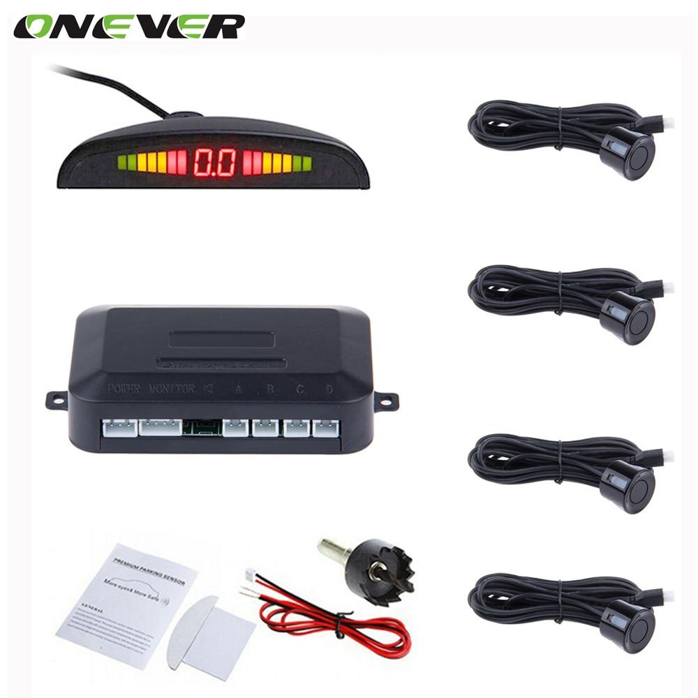 imágenes para Onever car auto parktronic sensor de aparcamiento led con 4 sensores de reserva del revés del coche del radar del estacionamiento del monitor detector de sistema de luz de fondo