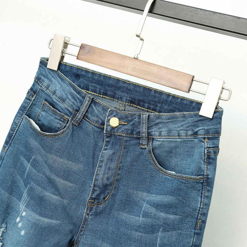 Vintage Jeans Women Pencil Pants High Waist Jeans Femme Casual Streetwear Elastic Plus Size Denim Ripped Hole Jeans Women Q1321