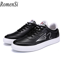 RomenSi Men Spring Fashion luxury Soft PU Leather Walking Shoes Man Summer Breathable Lace-up Sneakers Black And White 2 Color