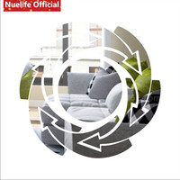 Circle and arrow revolving pattern mirror stickers living room bathroom porch TV sofa background wall decoration wall stickers