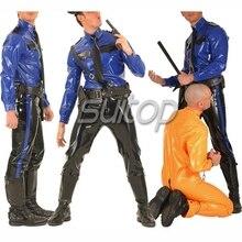 Полицейский человек, резиновая форма, латексные костюмы, военные комплекты, не включая ремень, костюм, подгонянный zentai для мужчин, синий