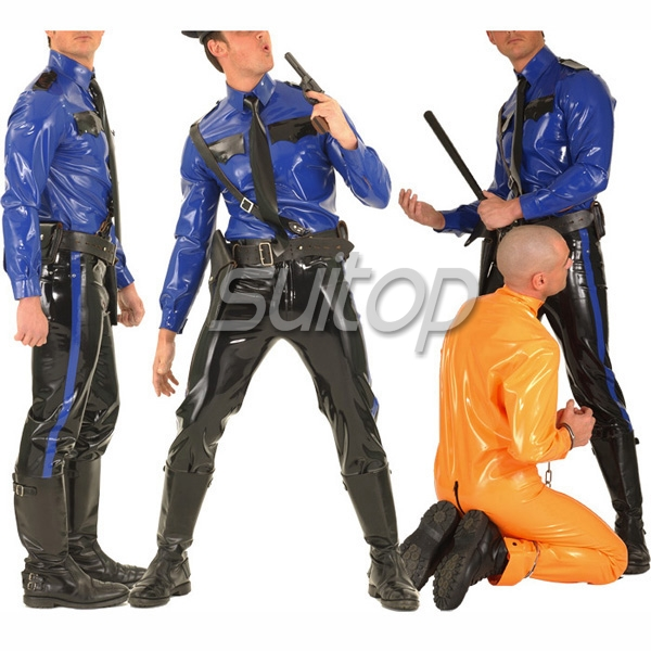 Police Man Rubber Uniforms Latex Costumes Military Sets Not Including Belt SUITOP Customised Zentai For Man Blue