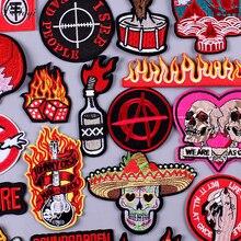 Pulaqi череп рок-группы патчи для одежды DIY Полоса вышитые железные нашивки на одежду металлические музыкальные Значки для рюкзаков