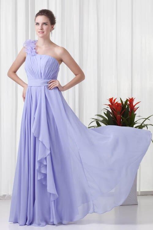 Elegant Lavender Flower One Shoulder   Bridesmaid     Dresses   Sexy Chiffon Long Wedding Guest   Dress   Robe Demoiselle D'honneur