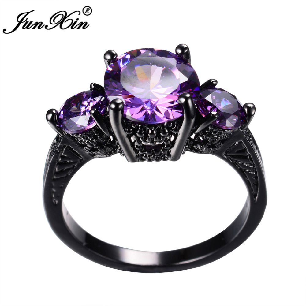 Junxin Big Round Black Gold Purple Ring Female Ring Vintage Wedding Engagement Rings -4890