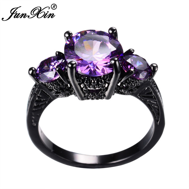junxin big round black gold purple ring female ring vintage wedding engagement rings for women fashion - Purple Wedding Rings