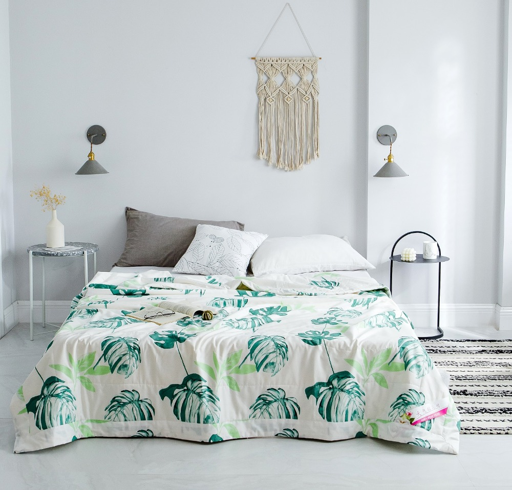 White Air Condition Summer Quilt simple 1pc Comforter Twin Queen Blankets Adults Kids cotton single double leaf fashion beddingWhite Air Condition Summer Quilt simple 1pc Comforter Twin Queen Blankets Adults Kids cotton single double leaf fashion bedding