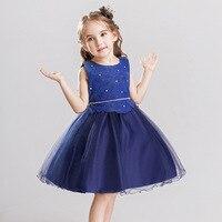 Lace Flower Baby Girl Sleeveless Wedding Dress Tutu Birthday Outfit For Girls Dresses Children Fancy Tulle