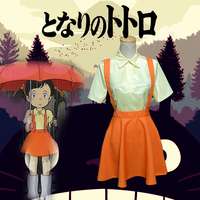 Hayao Miyazaki Movie My Neighbor Totoro Cosplay Costume Sister Satsuki Kusakabe Dress Halloween Full set Custom Made