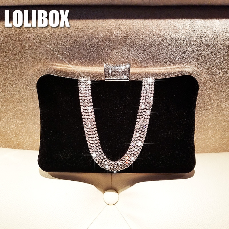 LOLIBOX Women Evening Clutch Bags New Rhinestone Day Clutches Velvet Large Capacity Ladies Hand Bags Women Evening Party Bags lolibox women evening clutch bag diamond streaks rhinestone box women day clutches women messenger bags evening party dress bag