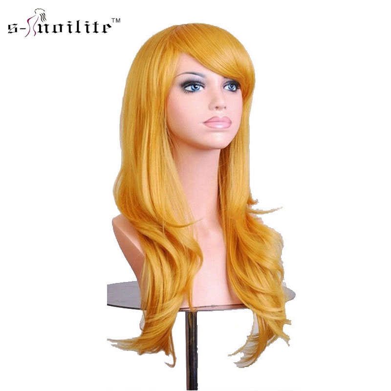 SNOILITE Косплэй парик 23 дюймов Для женщин Хэллоуин длинные вьющиеся синтетические парики желтый белый для человеческих волос