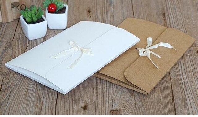 30 pçs/lote grande kraft foto envelope embalagem caso de papel branco presente envelope para lenço de seda com fita caixa de envelope cartão postal