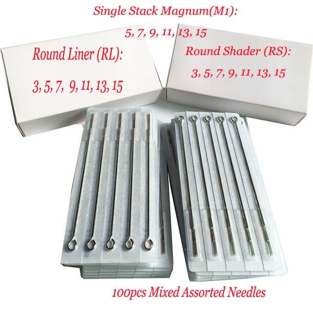 Tattoo Needles Mixed 100pcs Top Sterilized Mixed Assorted Sterilize Tattoo Needles RL/RS/M1 Tattoo Machine Needles Assorted