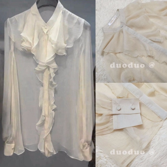 be6d534a436ce5 New Arrival 2017 Spring Women Clothes Transparent Silk Shirt Pleated Chiffon  White Long Sleeve Ruffle Shirt