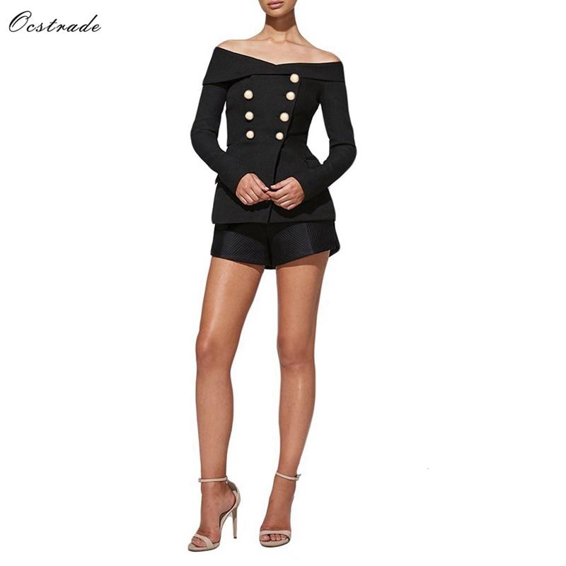 Ocstrade Off Shoulder Long Sleeve 2 Piece Fashion Bodycon Suit YSP0001 Black