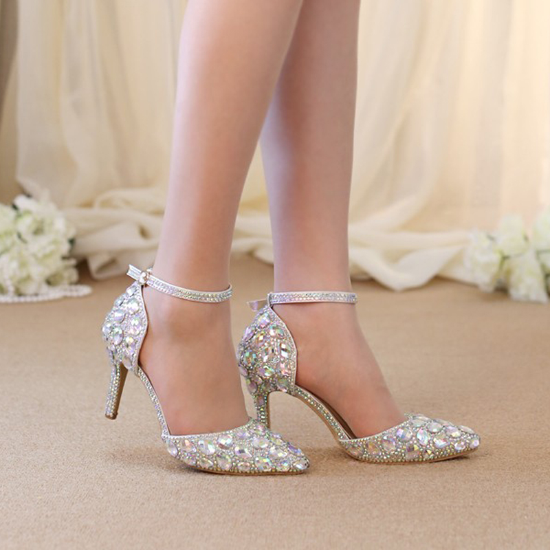 Pointed Toe Rhinestone Shoes Summer Sandals Ankle Straps Lady ...