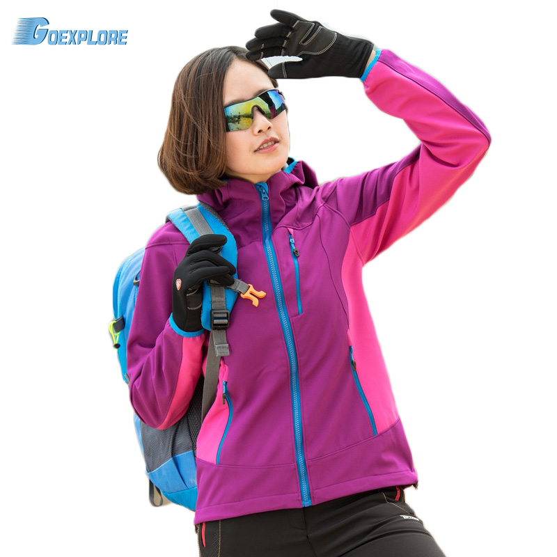 Dropshipping New spring autumn outdoor hiking fishing climbing camping windproof outerwear female softshell font b jacket