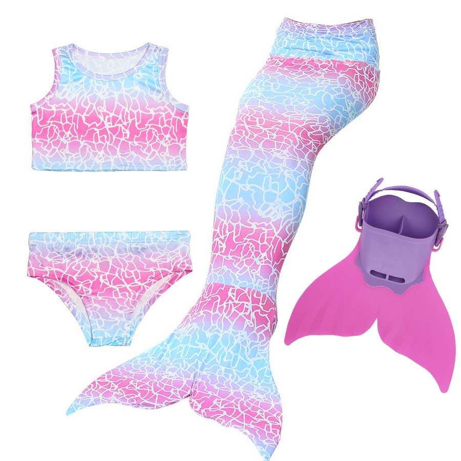 Girls 4 pcs Swimmable Mermaid Tail Cosplay with Monofin Mermaid Swimsuit Bikini Fin Kids Swimming Children Mermaid Tails Costume 2 piece girl s mermaid tails for swimming costume with monofin for kids girl swimmable mermaid tail dress w fin cosplay 2017 new