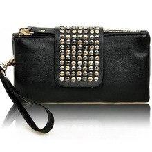 New Fashion Women Leather Handbag Retro Rivet Leopard Designer Luxury Female Purse Wallet Day Clutch Bag