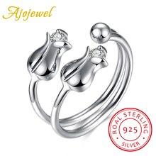 Ajojewel original 925 sterling silver rose flor circón femenina anillo ajustable aniversario romántico regalo de la joyería para las mujeres