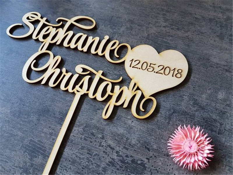 Personalized Wedding Cake Topper Couple Names + Date Cake Topper Rustic Wedding Decor Wooden Acrylic Laser Cut (2)