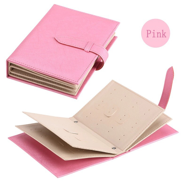 Pu Leather Stud Earrings Collection Jewelry Book Pattern Portable Jewelry Page Jewel Display Creative Jewelry Storage Box Pink