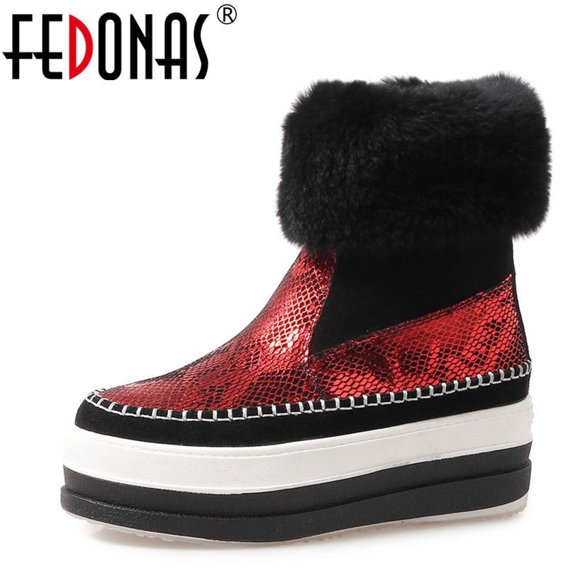 Rond Bottes Compensées Femme De Neige Automne Martin Femmes Chelsea Chaussures Chaude rouge Noir Bout Mode Bottines Talons Hiver Fedonas w8ACBxOnq