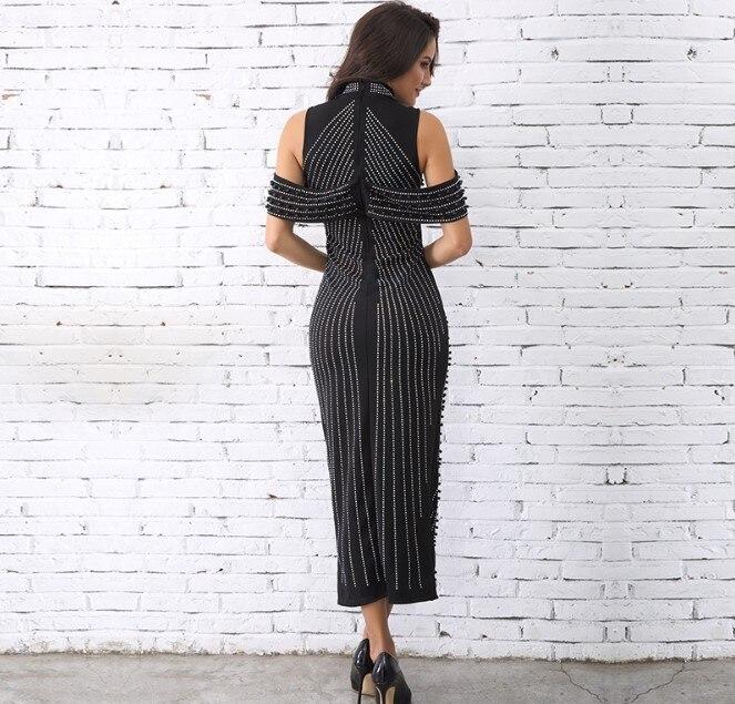 2019 Vrouwelijke Coltrui Kralen Jurk Dame Elegante Kantoor Werk Lange Party Jurk Mode Uit de Schouder Slanke Heupen Split Jurken - 2
