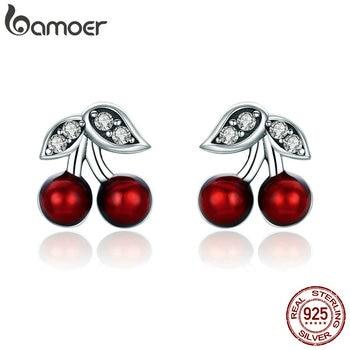 Cherry Red Enamel Stud Earrings for Women