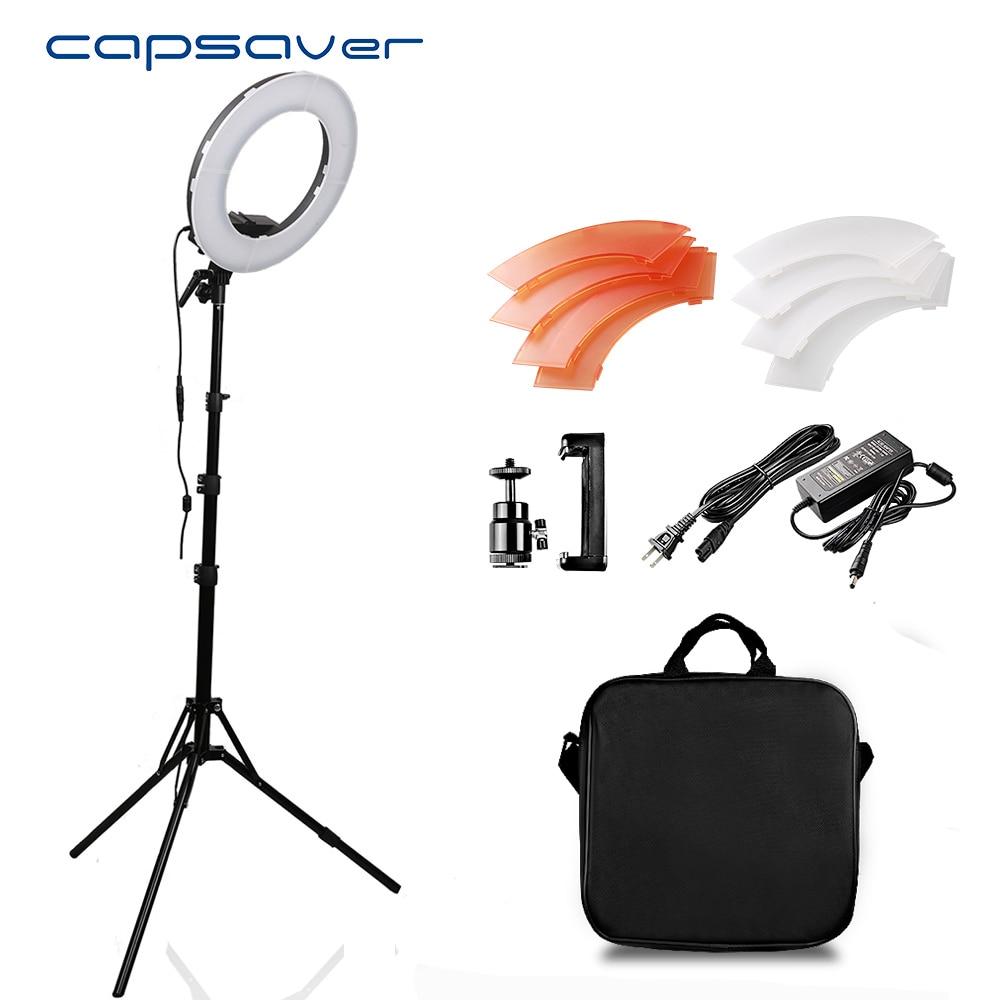 """Capsaver 12 """"anneau lumière annulaire lampe pour vidéo CRI90 Dimmable 5500K 196 LED s Photo lampe LED anneau de lumière Studio vidéo Ringlight-in Éclairage photographique from Electronique    1"""