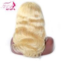 AFAIYS полностью кружевные парики из человеческих волос, волнистые парики из цельного кружева, блонд, 613, парики из бразильских волос remy, беспла