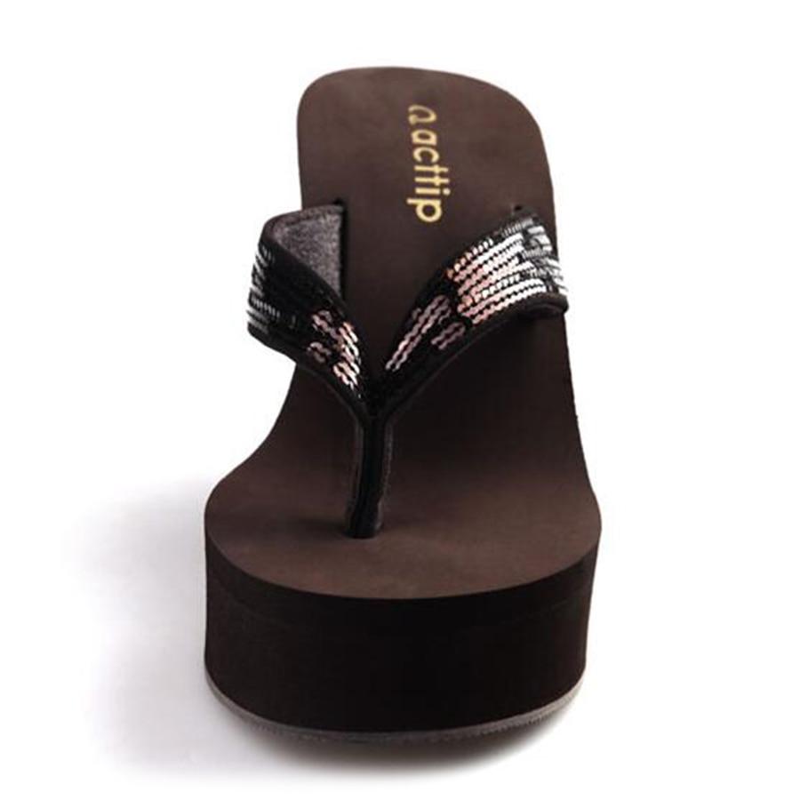 Akexiya musim panas baru wedges wanita sandal jepit bling sepatu platform  wanita sandal wanita hak tinggi sandal sequin anti slip hitam di Wanita  Sandal ... 66f927587896