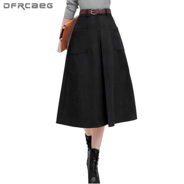 Теплая шерсть юбка 2017, женская обувь зимние Высокая талия юбка-трапеция с карманом Винтаж Модные женские Черные и темно-красные туфли красный Saia Лонга feminina