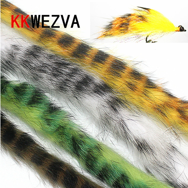 KKWEZVA 1 M Rabbit Fur Hare Zonker Stripes for Fly Tying Material Streamer Fishing Flies 5mm Wide fly fishing lure Insect squid wifreo 1pack 30cm crimped kinky minnow fiber streamer fly fibers bucktail jig head tying material for fly fishing bass lure