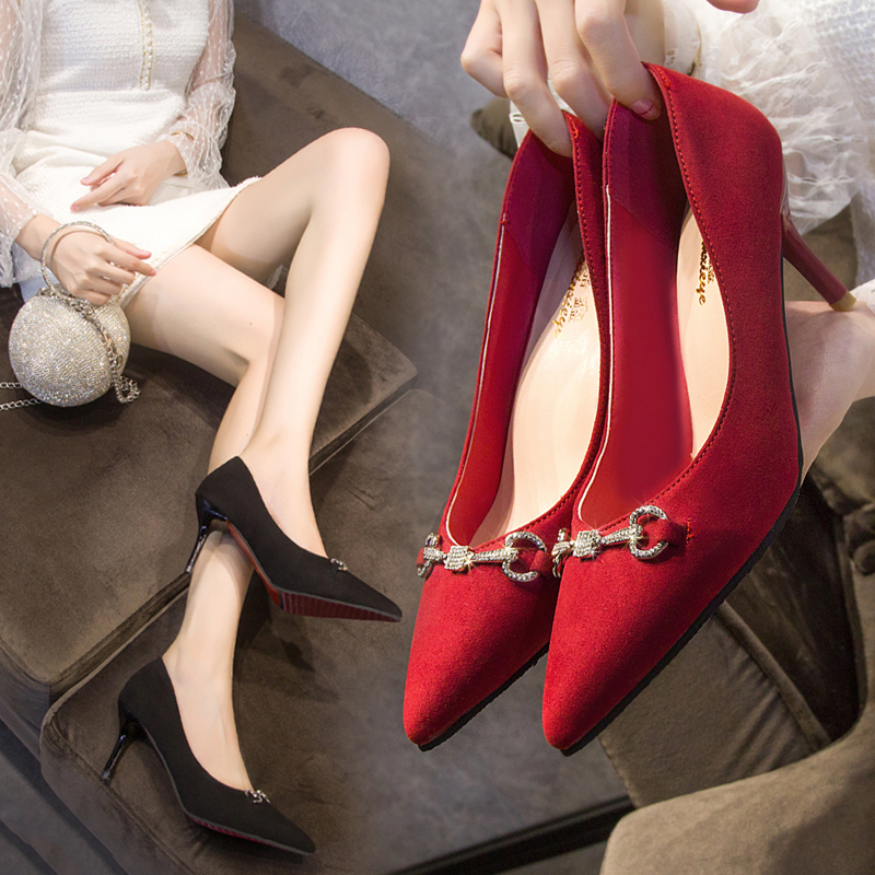 Sexy Rhinestone Stiletto High Heels 2020 Spring New Shallow Mouth Pointed Womens Single Shoes Red Wedding Shoe Dress Party Pumps