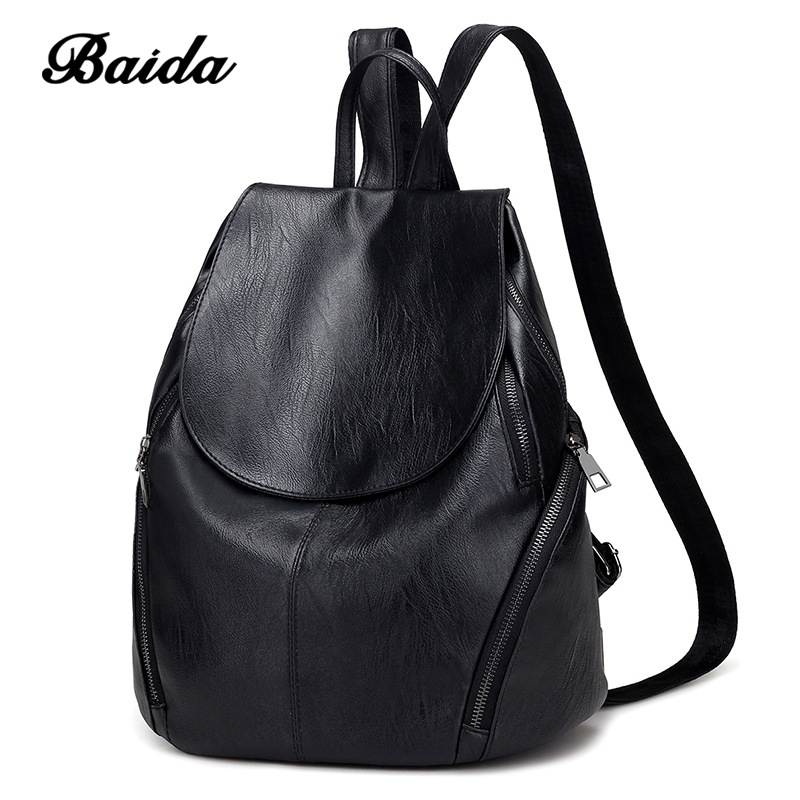 BAIDA New 2017 High Quality Women Backpacks Fashion Lady Leather Backpack School Backpacks For Teenager Girls wellvo women solid vintage backpacks for teenager girls black multifunctional backpack new designed high quality rucksack xa84wb
